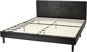 amazon basics faux leather platform bed set